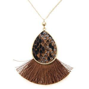 """No. 3 tassel fan snake necklace print brown 30""""L"""